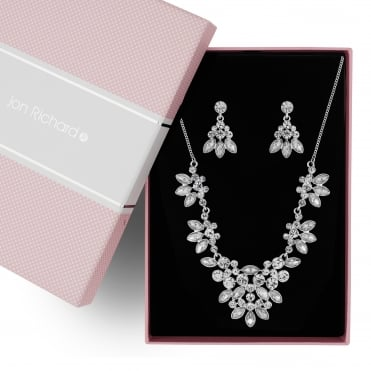 Silver floral crystal jewellery set