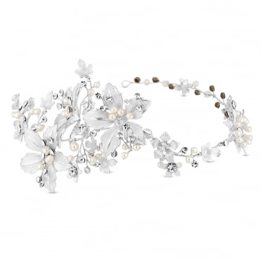 Silver Floral Hair Vine With Crystal And Pearl