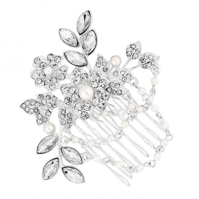 Silver Floral Pearl Drape Hair Comb