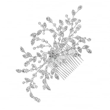 Silver floral spray hair comb