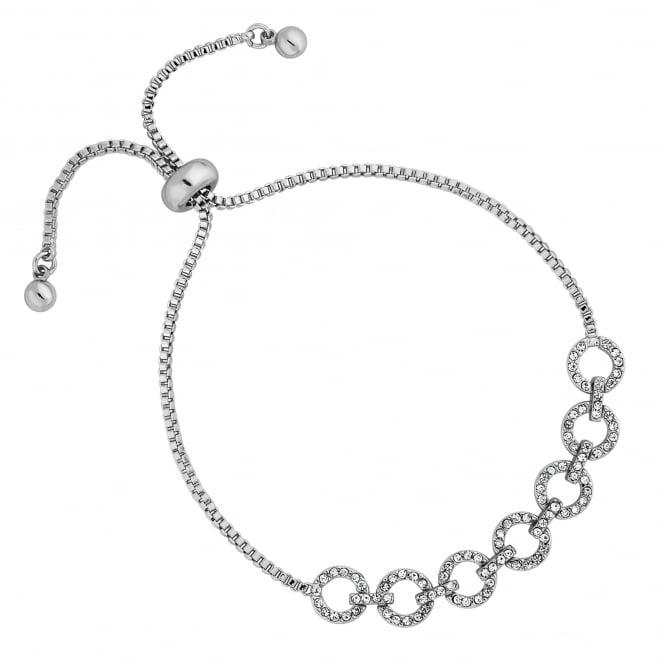 Silver Gold Pave Circle Toggle Bracelet