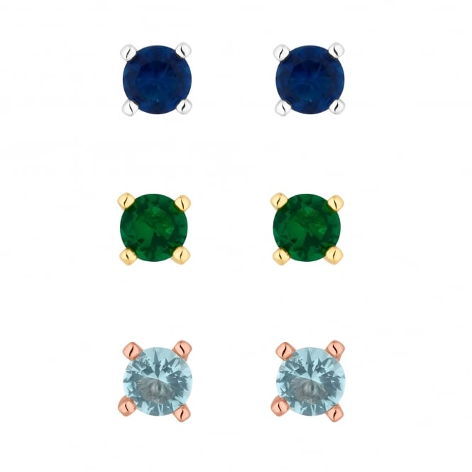 Silver/ Gold/ Rose Gold Plated Blue And Green Cubic Zirconia Stud Earring Set - Pack of 3