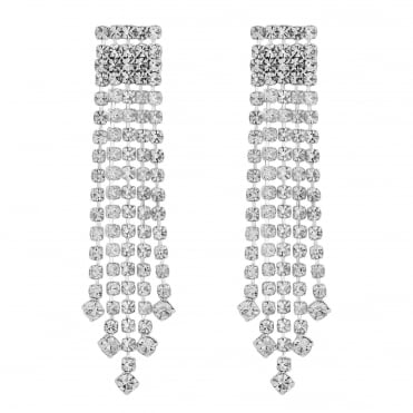 Silver graduated diamante drop earring
