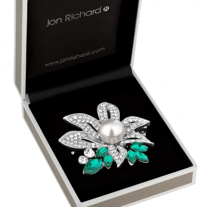 Jon Richard Silver Green Crystal And Pearl Brooch In A Gift Box