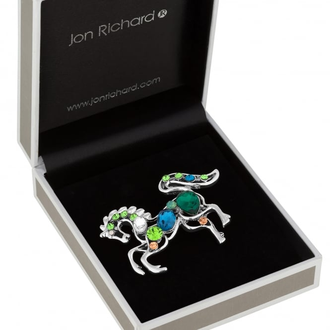 Silver Green Crystal Horse Brooch In A Gift Box