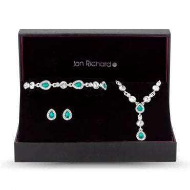 Silver Green Crystal Peardrop Jewellery Set In A Gift Box