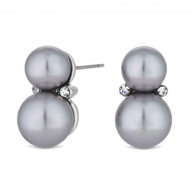 Silver Grey Double Pearl Stud Earring