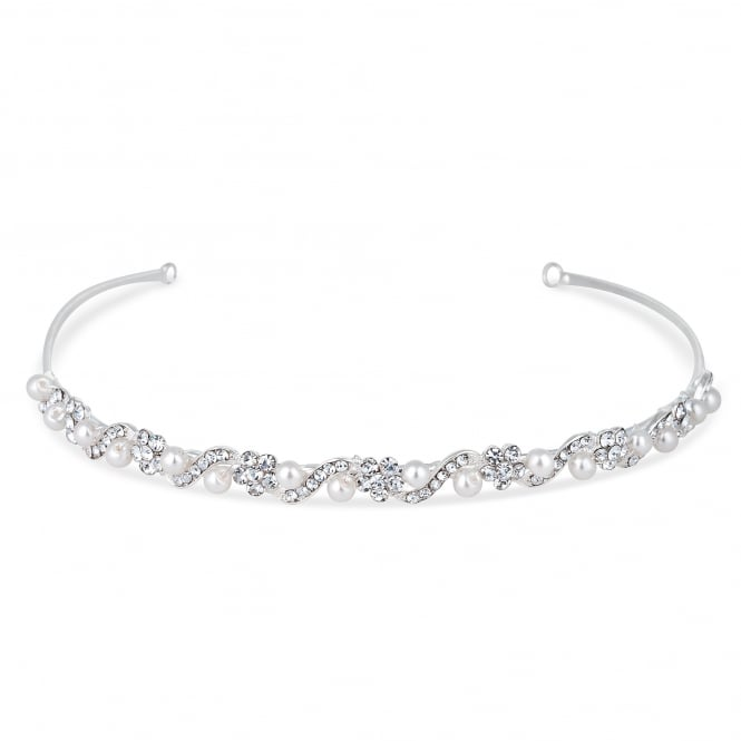 Jon Richard Silver Isabella Crystal And Pearl Flower Headband