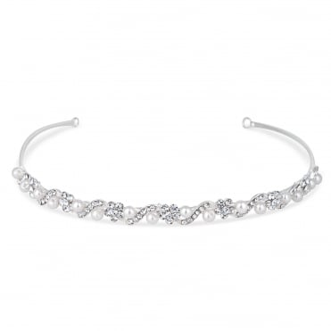 Silver Isabella Crystal And Pearl Flower Headband