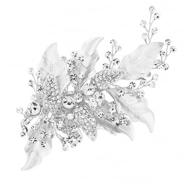Silver Lily Textured Leaf And Crystal Hair Clip