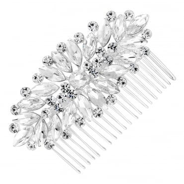 Silver navette hair comb