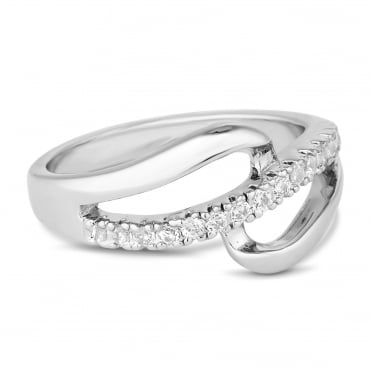 Silver open pave loop ring
