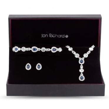 Silver Palted Blue Crystal Peardrop Jewellery Set In A Gift Box