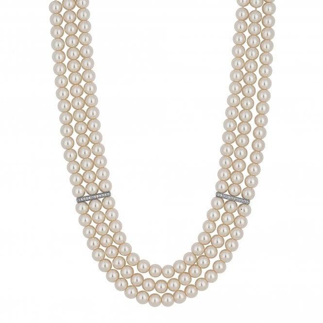 Silver Pave Bar Cream Pearl Multi Row Necklace
