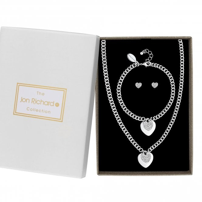 Silver Pave Crystal Heart Charm Jewellery Set