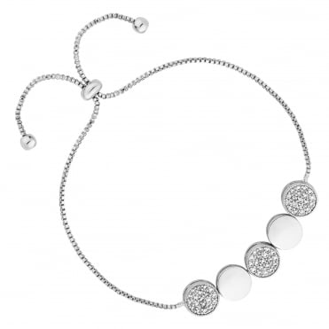 Silver Pave Disc Toggle Bracelet