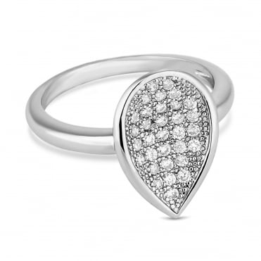 Silver pave peardrop ring