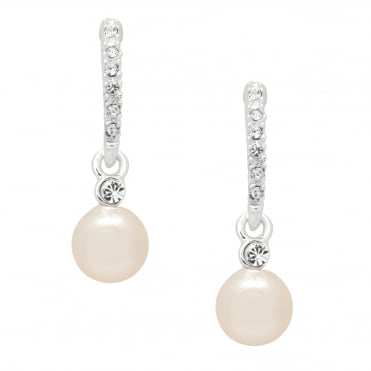 Silver pave stick pearl drop earring
