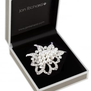 Jon Richard Silver Pearl And Crystal Cluster Loop Brooch In A Gift Box