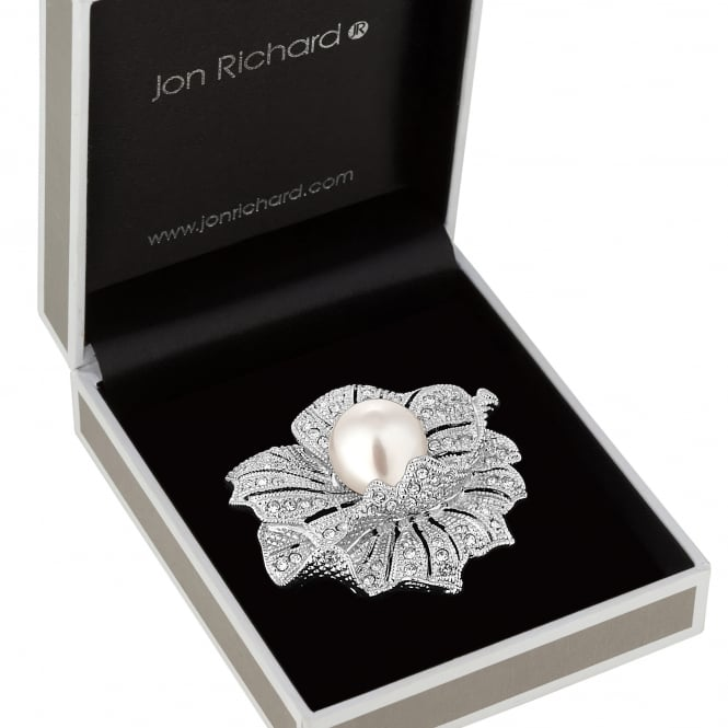 Silver Pearl And Crystal Flower Brooch In A Gift Box