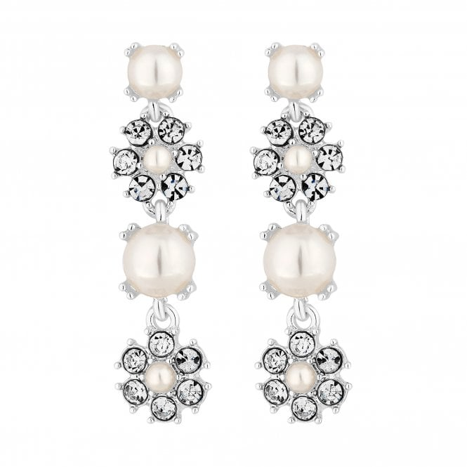 Silver Pearl And Crystal Flower Drop Earring