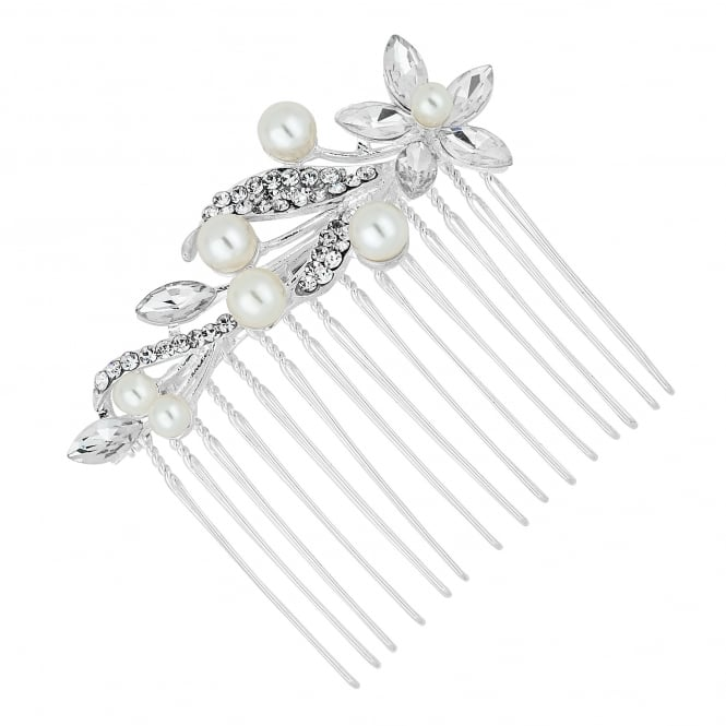 Silver Pearl And Crystal Navette Flower Hair Comb
