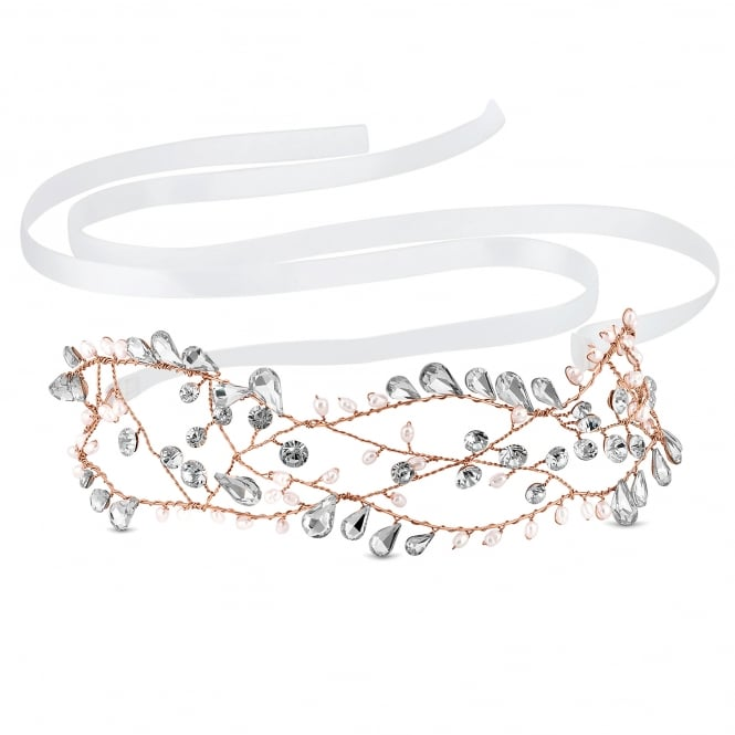 Silver Pearl And Crystal Open Hair Vine