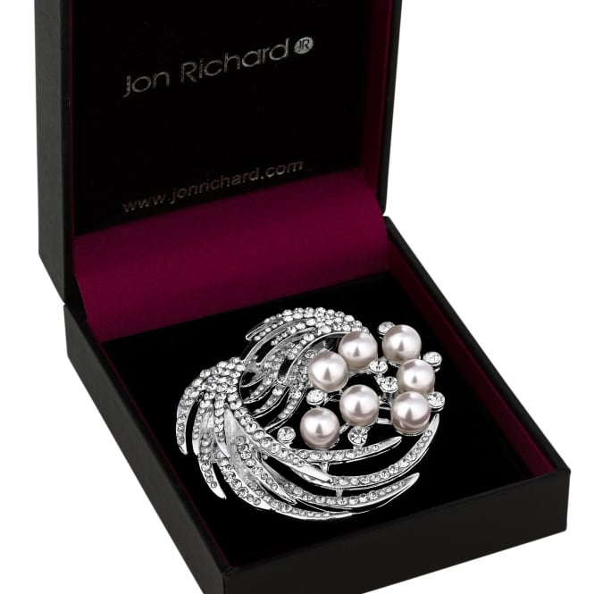 Silver Pearl And Crystal Spray Brooch In A Gift Box