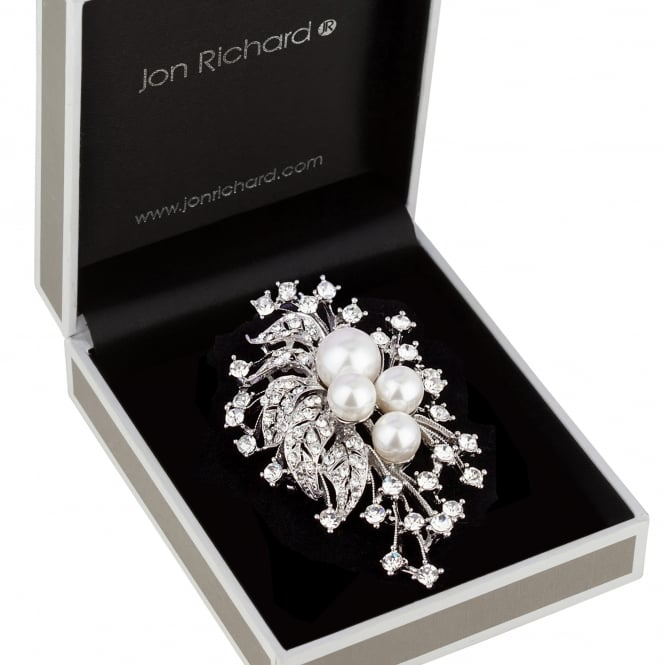 Jon Richard Silver Pearl And Crystal Vintage Spike Brooch In A Gift Box