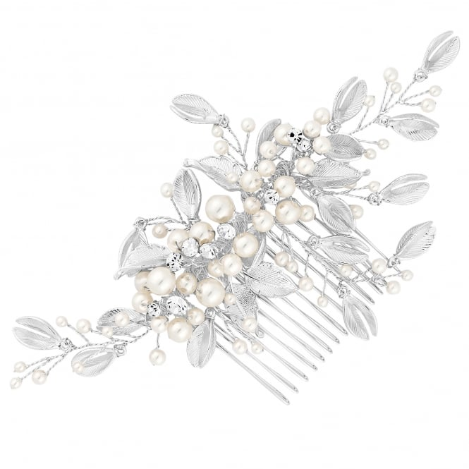 Silver Pearl And Leaf Spray Hair Comb