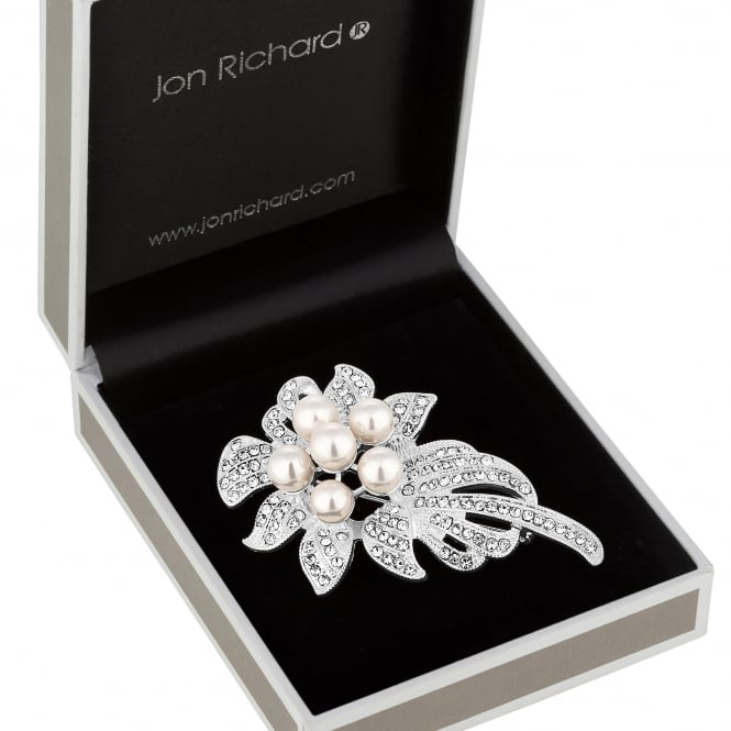 Silver Pearl Corsage Brooch In A Gift Box