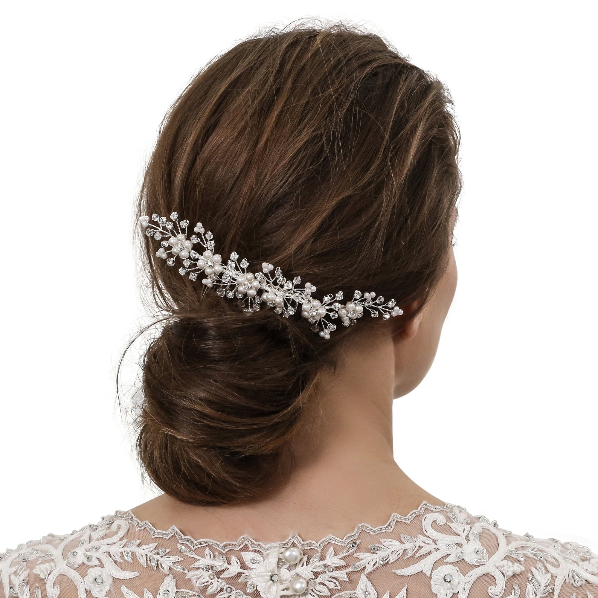 Silver Pearl Flower And Crystal Spray Hair Comb