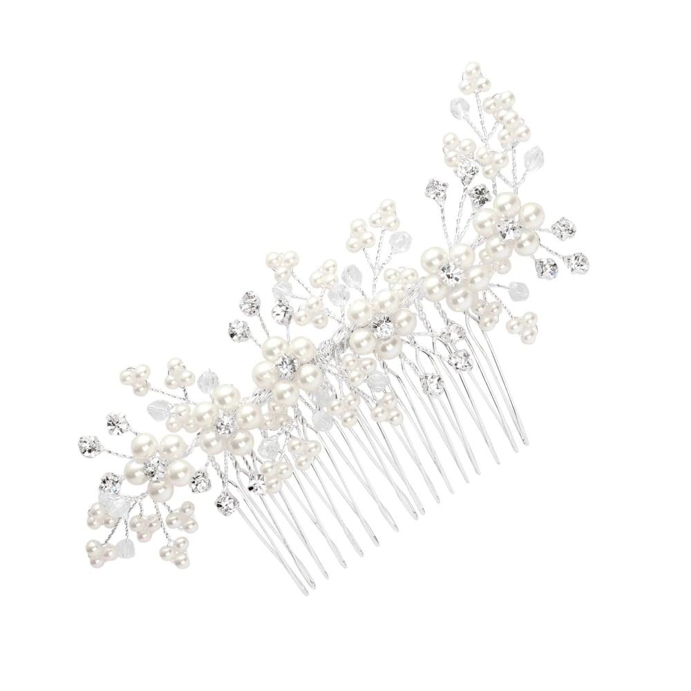 Jon Richard Silver Pearl Flower And Crystal Spray Hair Comb - Bridal  Jewellery from Jon Richard UK
