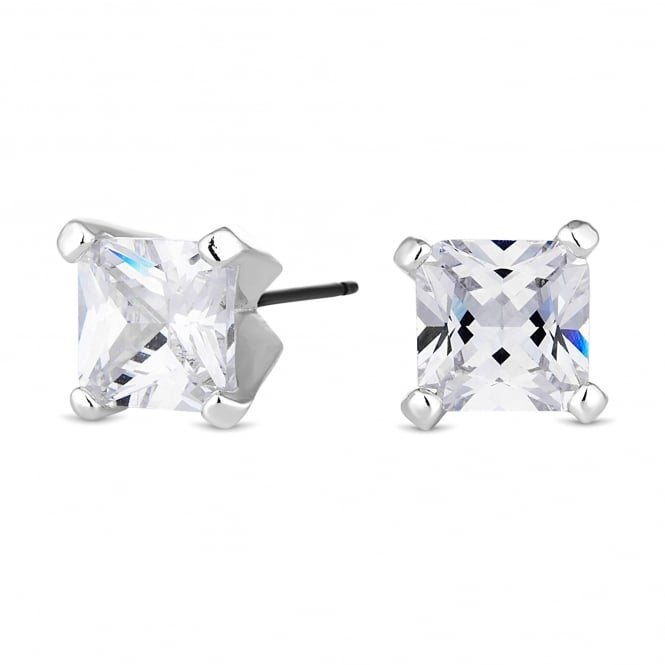Silver Plated 10mm Square Stud Earring