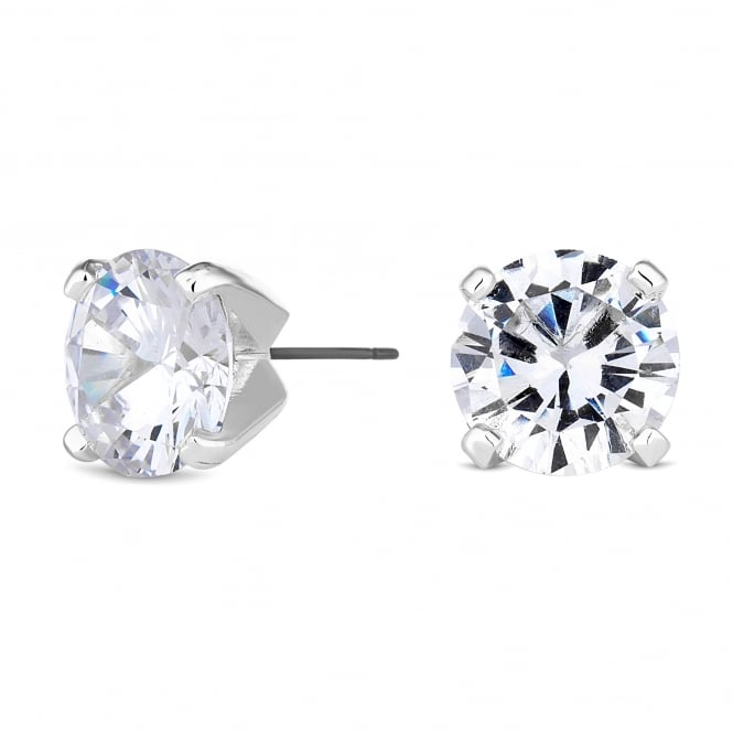 Silver Plated 12mm Cubic Zirconia Round Stud Earring