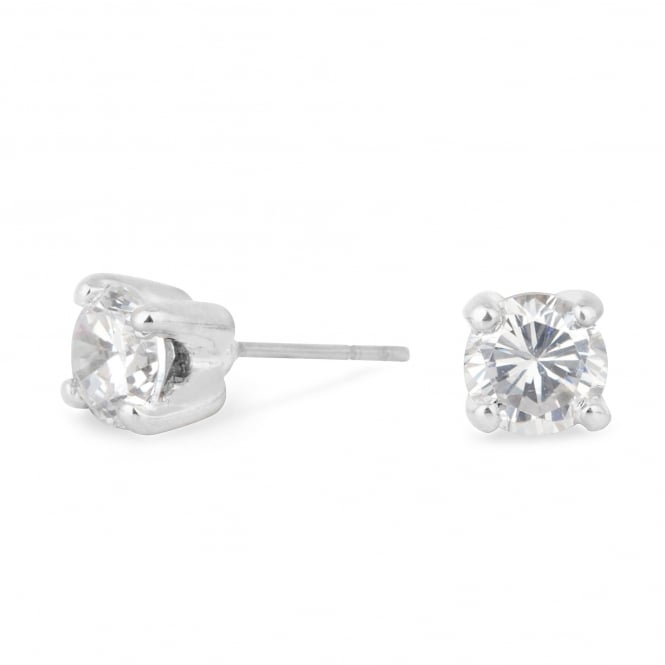 Silver Plated 6mm Cubic Zirconia Round Stud Earring