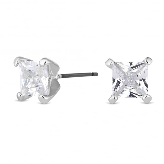 Silver Plated 6mm Square Stud Earring