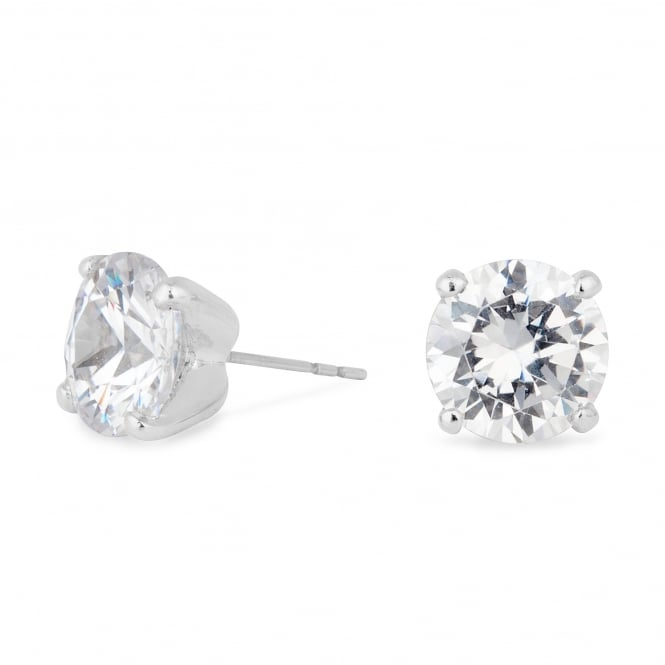 Silver Plated 8mm Cubic Zirconia Round Stud Earring