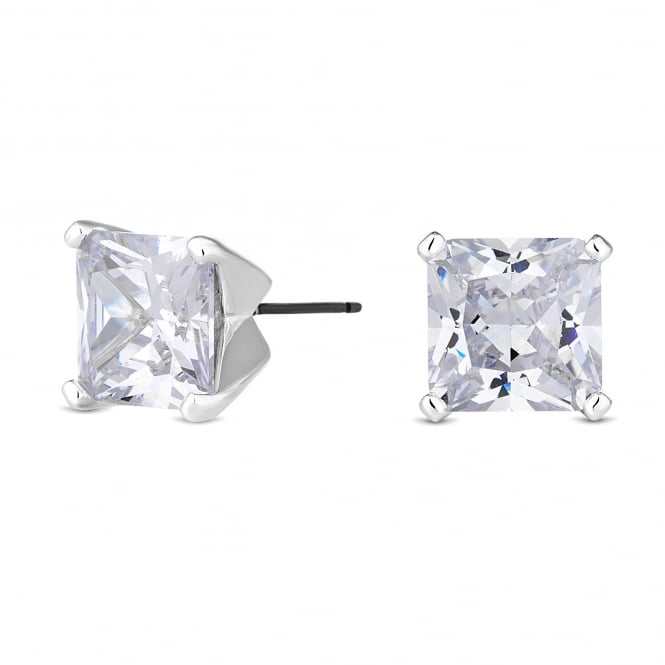 Silver Plated 8mm Square Stud Earring