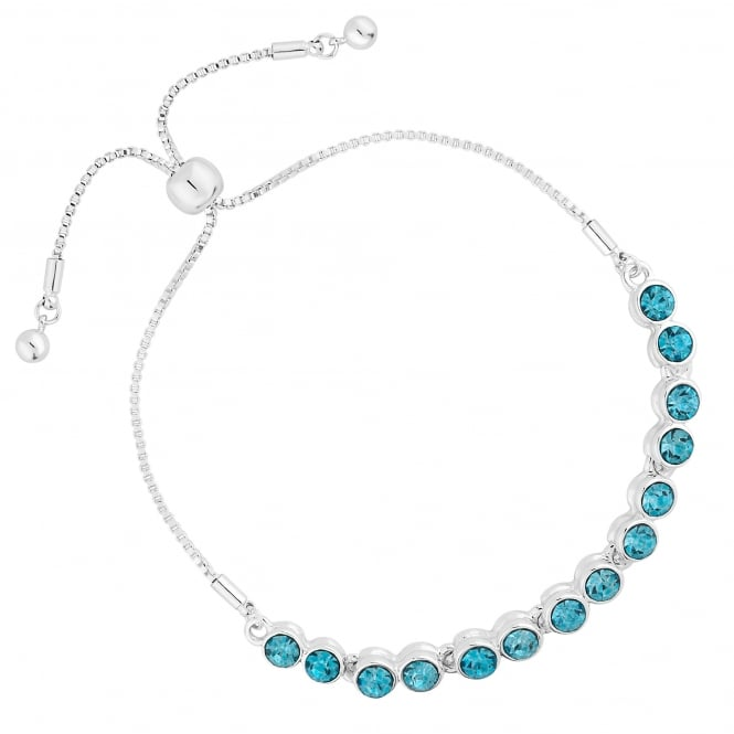 Silver Plated Aqua Blue Crystal Toggle Bracelet