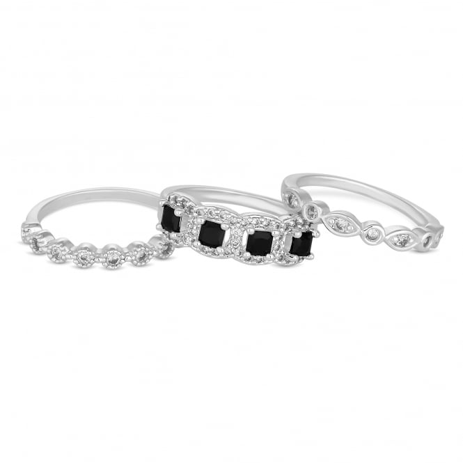 Silver Plated Black Crystal Stacking Ring Set