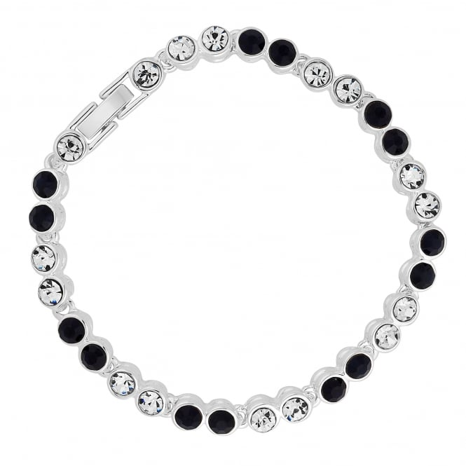 Silver Plated Black Crystal Tennis Bracelet