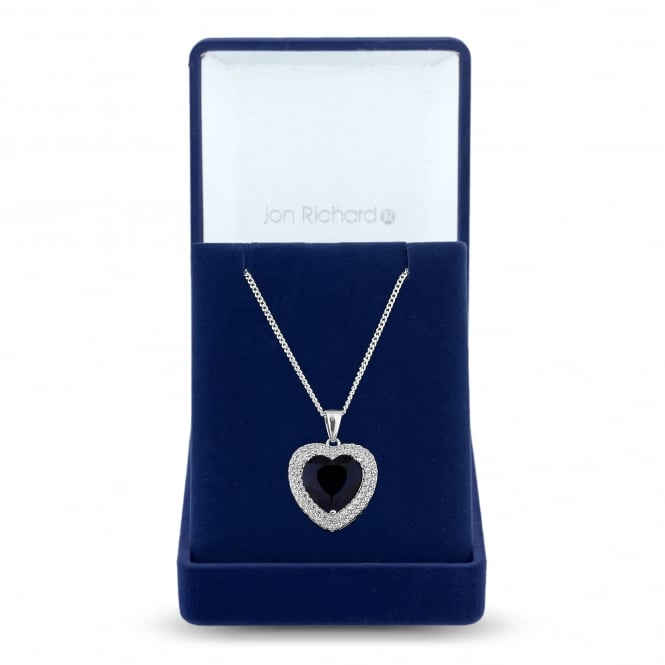Jon Richard Silver Plated Black Cubic Zirconia Heart Halo Pendant Necklace In A Gift Box