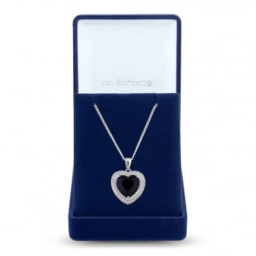 Silver Plated Black Cubic Zirconia Heart Halo Pendant Necklace In A Gift Box