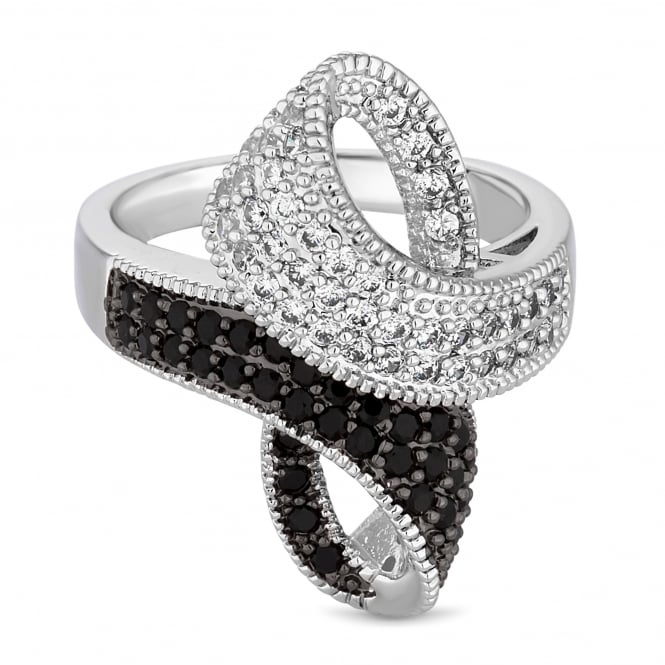 Silver Plated Black Monochrome Crystal Loop Ring