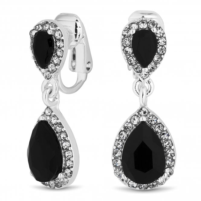 Silver Plated Black Peardrop Crystal Clip On Earring