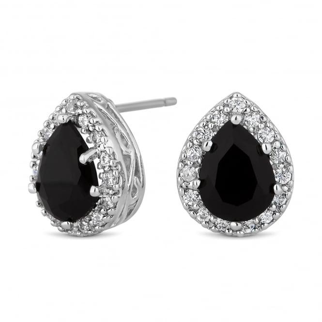 Silver Plated Black Peardrop Stud Earring