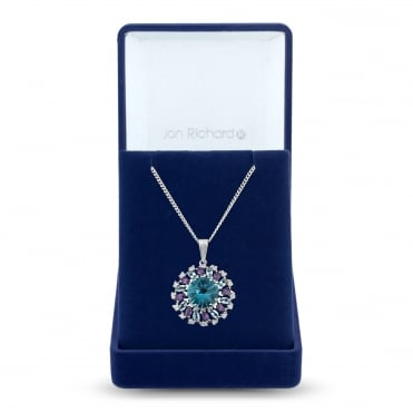 Silver Plated Blue And Purple Cubic Zirconia Cluster Halo Necklace In A Gift Box