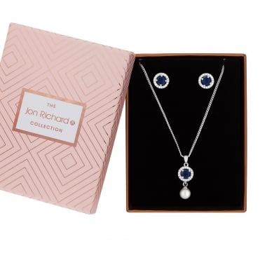Silver Plated Blue Crystal Halo Jewellery Set In A Gift Box