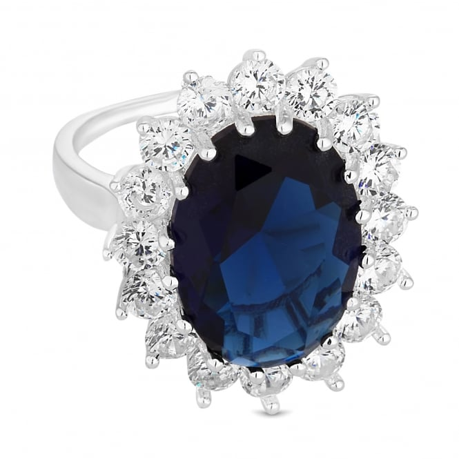 Jon Richard Silver Plated Blue Crystal Kate Ring